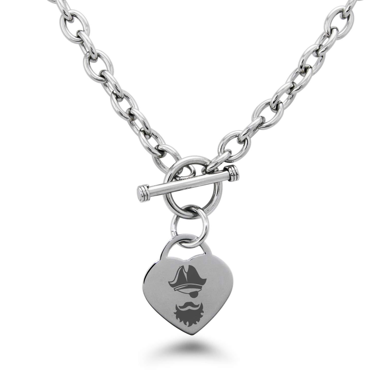 Tioneer Stainless Steel Legendary Blackbeard Pirate Heart Charm Bracelet /& Necklace