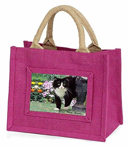 Advanta ac-197lymbmp schwarz plus weiß Cat Love You Mum Little Mädchen Einkaufstasche Weihnachten Geschenk, Jute, pink, 25,5x 21x 2cm