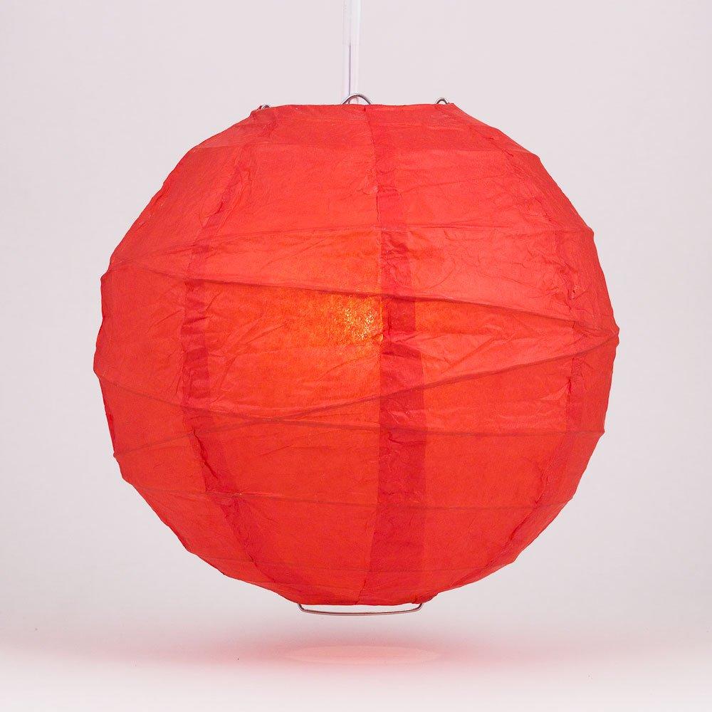 Quasimoon PaperLanternStore.com 36'' Red Round Paper Lantern, Crisscross Ribbing, Hanging Decoration