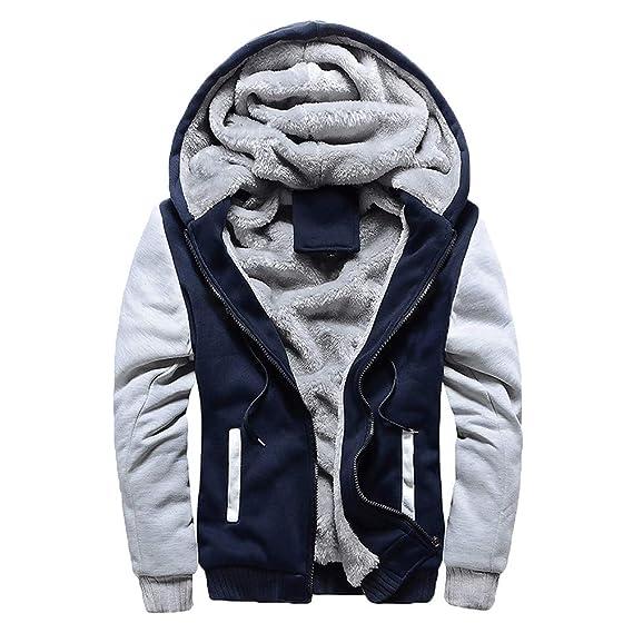 Hanomes Herren Jacke,Hanomes Winter Verdicken Hoodie Kapuzenjacke Warme Fleece Sweatjacke Casual Hoodie Mode Patchwork Jacke Two Tone M 5XL