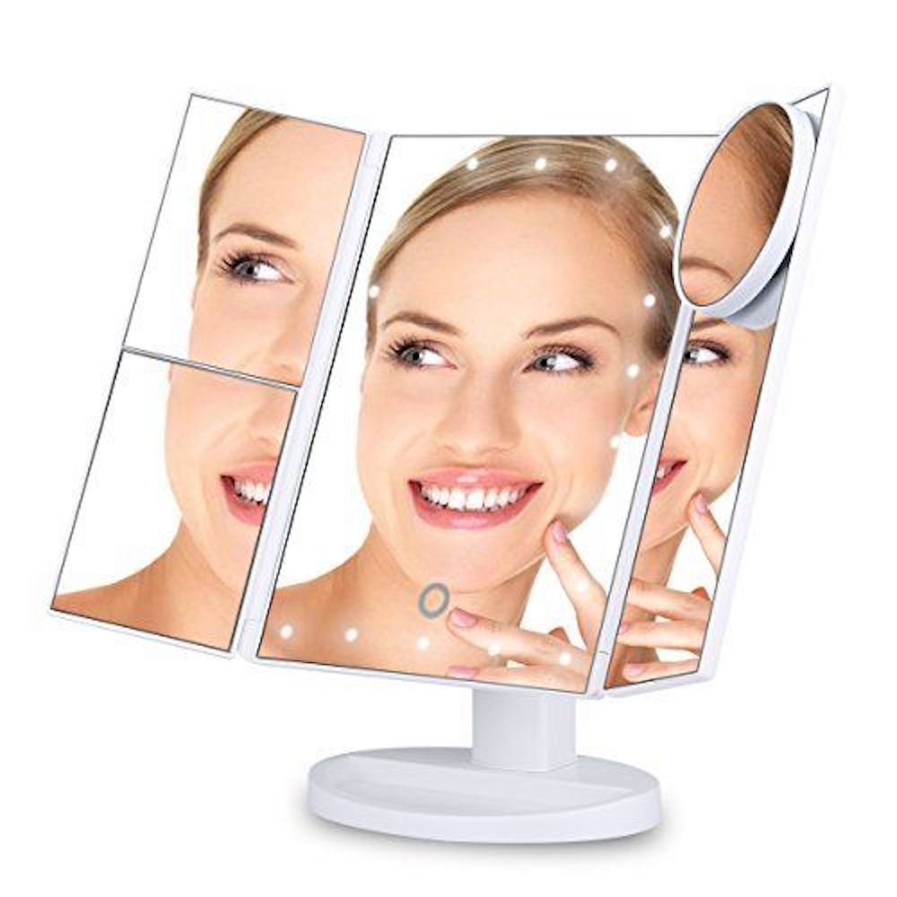 Vanity Affair Makeup Mirror with 22 LED Lights, Touch Screen Technology, 3x/2x Multi Magnification, USB Powered. Countertop Trifold Cosmetic Light Up Mirror. Includes Additional Free 10x Eye Mirror. Now Available in 5 Colours VanityAffair