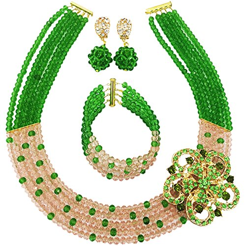 aczuv 5 Rows Royal Blue Yellow Women's Fashion African Beads Nigerian Necklace Bridal Wedding Jewelry Sets (Green (Green Costume Jewelry Sets)