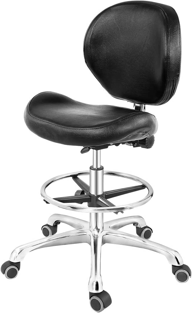 Grace & Grace Rolling Drafting Chair Height Adjustable Stool with Backrest and Footrest for Computer,Studio,Workshop,Classroom, Lab, Counter, Home Office, Work from Home Chair, Home Desk Chair