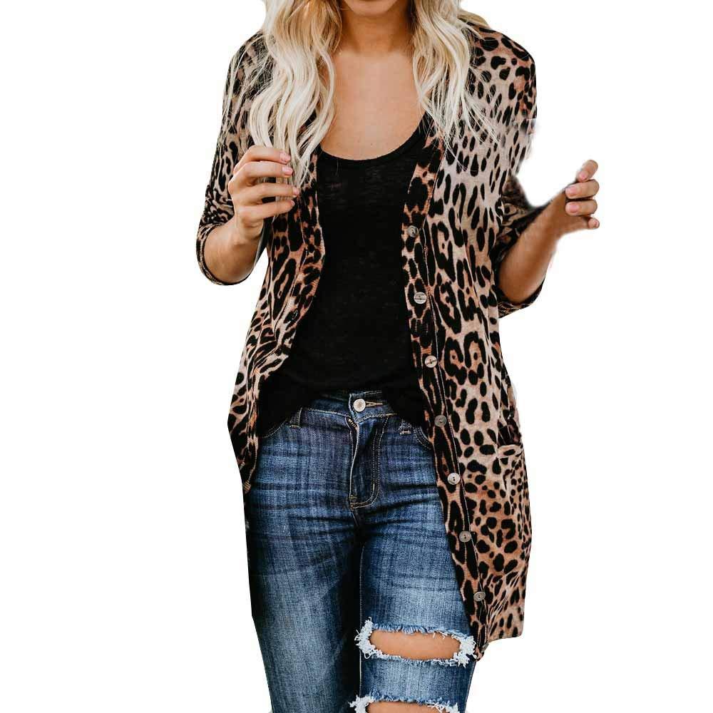 feiXIANG (R) Cardigan da Donna con Maniche Lunghe Blusa Cappotto con Stampa Leopardata Cappotti Lungo Giacca Maglione Maglioni Top Pullover S/M/L/XL