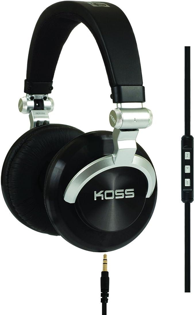 Koss Pro Dj200 Stereo Over Ear Dj Kopfhörer Faltbar Mit 3 Tasten Fernbedienung Mikrofon Und Spiralkabel Schwarz Musikinstrumente