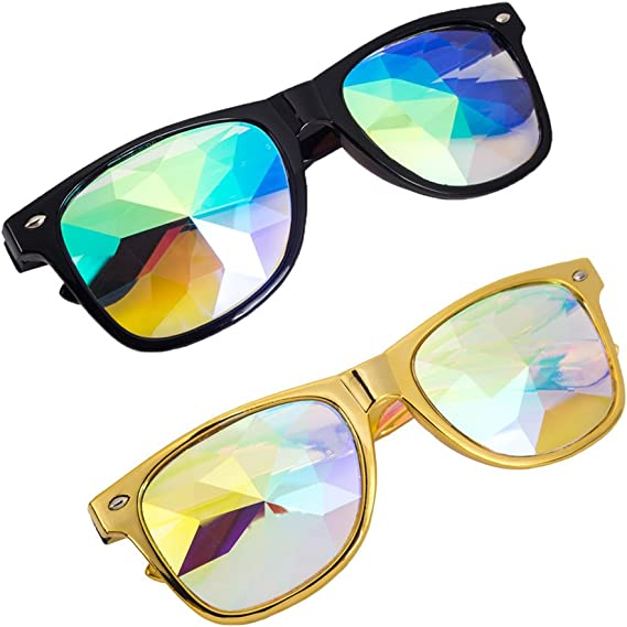OMG/_Shop Kaleidoscope Glasses Square Rainbow Carnival Goggles Party Steampunk
