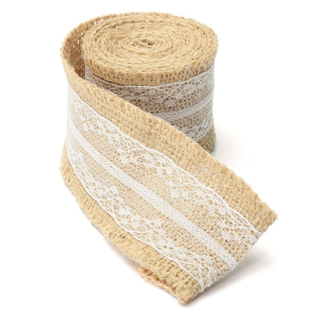Scrox 2M Natural Jute Lace Ribbon Burlap Ribbon Roll Linen Cord Craft Ribbon Wedding for Craft Wedding DIY Scrapbook Home Deco