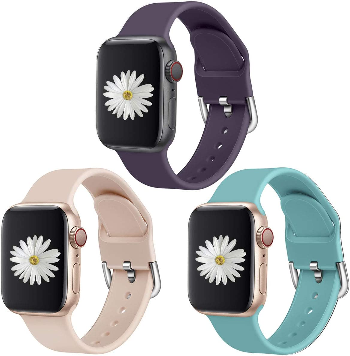 SUPOIX 3 Pack Compatible with Apple Watch Band 38mm 42mm 40mm 44mm, Men Women Soft Silicone Replacement Band for iWatch Series 6 5 4 3 2 1 (38mm/40mm M/L)