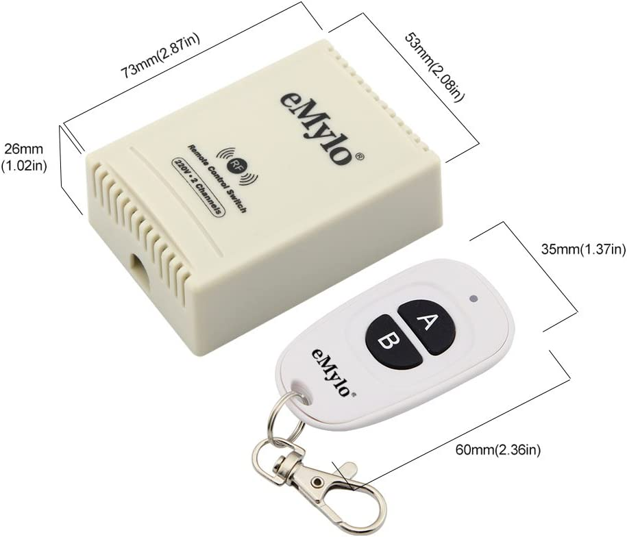 eMylo Smart Wireless 220V Relais 1000W RF Interrupteur T/él/écommande 433Mhz Un 2 Canaux Avec Deux Emetteurs
