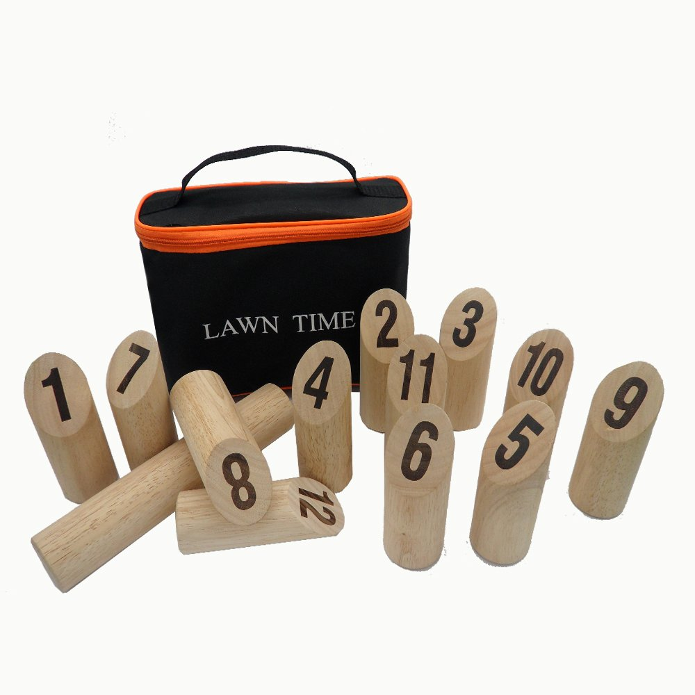 Lawn Time Viking Bowling - Molkky - Scatter Outdoor Game-Rubberwood Viking Kubb Game Set with Carrying Bag