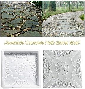DIY Patio Walk Maker Stepping Stone Concrete Paver Mold Reusable Path Maker Mold for Garden and Backyard and Patios Decor