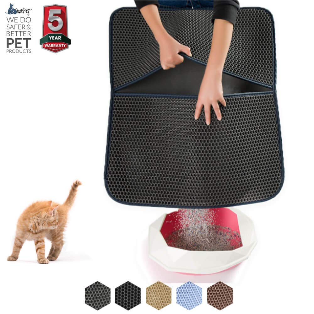 Grey Large 30 x 25\ Grey Large 30 x 25\ WePet Cat Litter Mat, Litter Trapping Mat, 30 x 25 Large Size, Honeycomb Double Layer Design, No Phthalate, Water Urine Proof, Easy Clean, Scatter Control, Litter Catcher Locker, Kitty Litter Box Rug