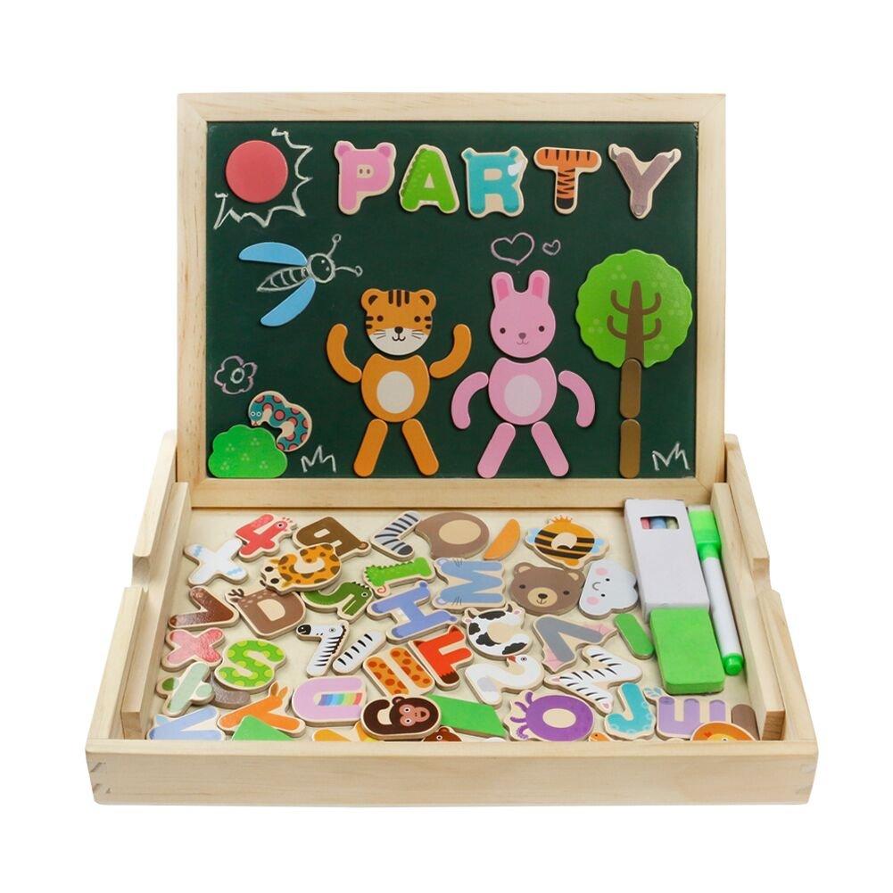 Puzzles de Madera Magnéticos Juguetes Educativos Dibujo con Caballete Puzzle para Regalos