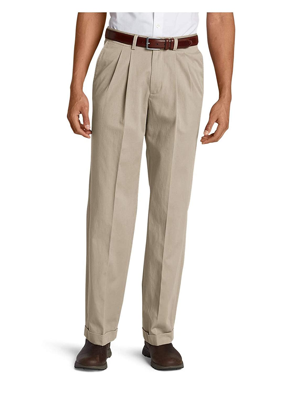 Eddie Bauer Mens Wrinkle-Free Relaxed Fit Pleated Performance Dress Khaki Pants 35597