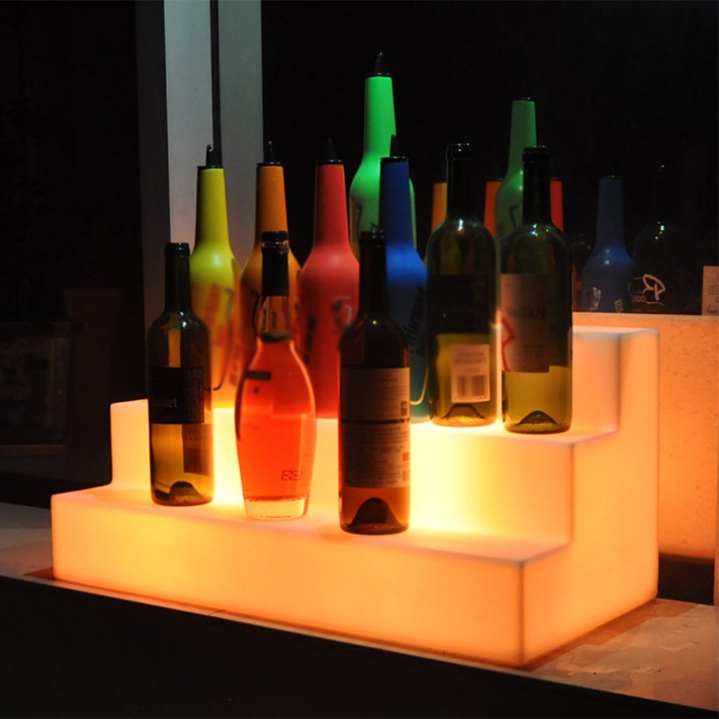 Augrous LED Wine Rack 16 Color Changing Wine Show Stand Plastic Waterproof Rechargeable with Remote for Bar Parties Decoration
