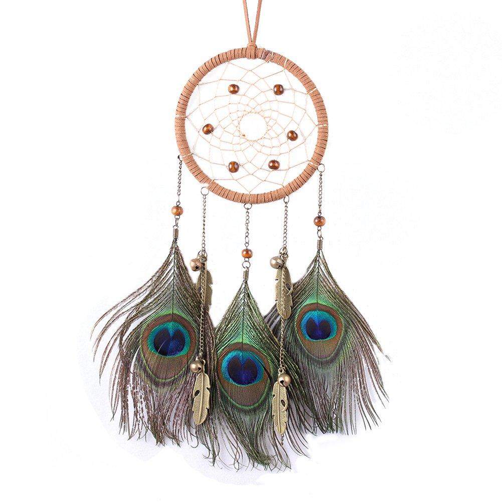 Demiawaking Handmade Floral Dream Catcher with Beige Tassels Car Wall Hanging Ornaments Decor Crafts