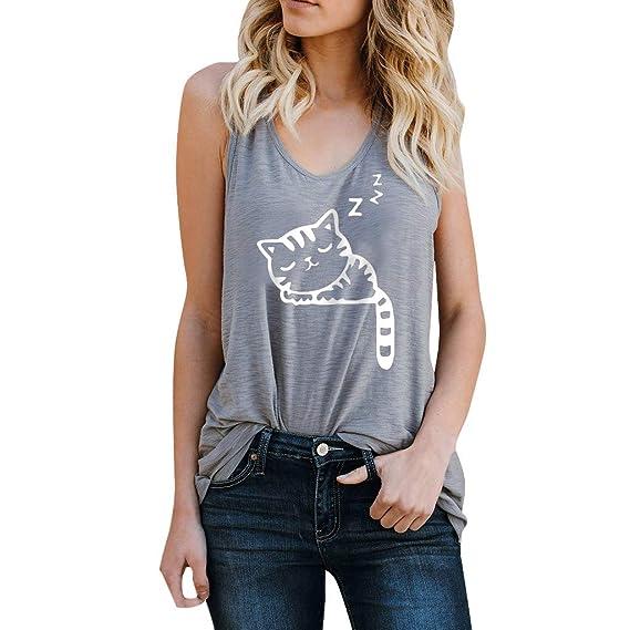 Camisetas sin Mangas de Verano para Mujer Camisas Mujer Fiesta Camiseta de Tirantes Mujer Camiseta Deportiva Camisa de Verano sin Mangas Camisola Tops: Amazon.es: Ropa y accesorios