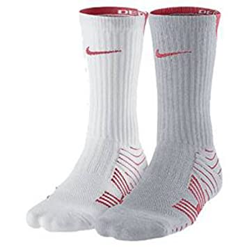 Nike Crew Calcetines – 2 par Rendimiento – Balón de fútbol, Color Blanco/Gris