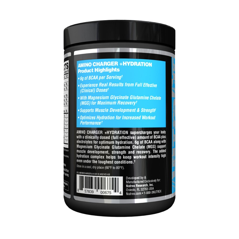 Nutrex Research Amino Charger Plus Hydration BCAA, Coconut Water, Electrolytes, Taurine, Magnesium for Maximum Performance Recovery Cosmic Blast 30 Servings