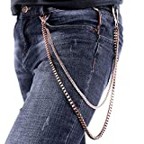U7 Men Cool Box and Snake Chain Punk Trouser Long Wallet Key Chain - Rose Gold