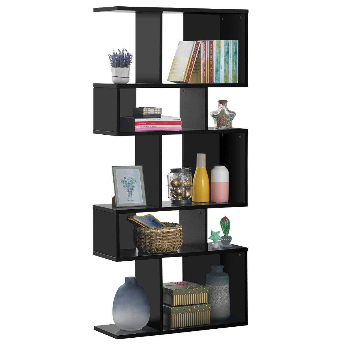 Giantex Freestanding Ladder Bookcase, 5 Cubes Corner Storage Bookshelf, 5-Layer Shelves Closet Organizer Rack Display Cabinet Black