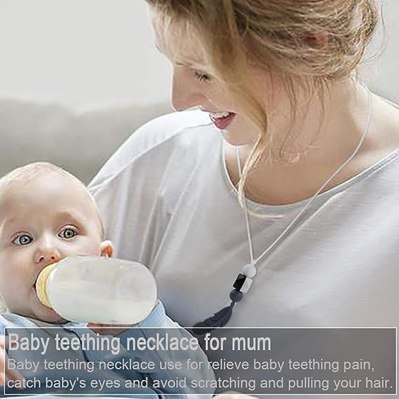 Guante mordedor bebé,bebe dentición Manoplas,Collar Lactancia,collar Hermosa Moda,Silicona flexible, SIN BPA. aliviar el dolor de encías, Masajear ...