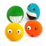Chiwava 4 Pack 2.8'' Latex Squeaky Dog Toy Smiley Face Balls Interactive Fetch Play for Small Dogs