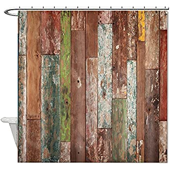 Missy Polyester Wood Shower Curtain Rustic Old Colorful Barn Bathroom Waterproof 72