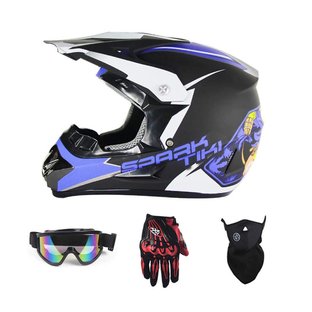 MRXUE Off-Road Anti-Collision Motorbike Helmet, Full Face Helmet Off-Road Anti-Collision Helmet Kit Adult Highway Helmet Give Goggles Bicycle Gloves Dust Mask Blue,S(53~54Cm)