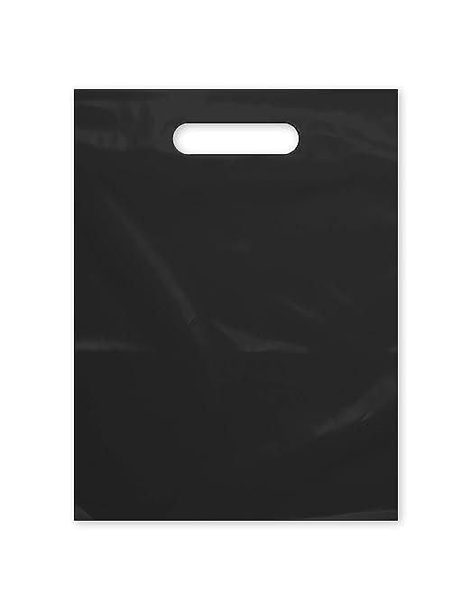 """Amazon.com: Bolsa de plástico con mango troquelado 9"""" x 12"""" Bolsas de plástico negro para mercancías 100 unidades para venta al por menor, regalos, feria comercial y más (9""""x12""""): Industrial & Scientific"""