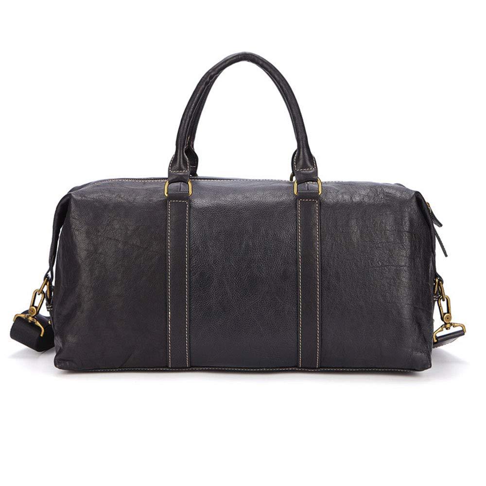 旅行バッグ スタイリッシュなシンプルさポータブルトラベルバッグ肩斜め最初の層レザービジネストラベルバッグ スポーツバッグ トラベルバッグ (色 : ブラック)  ブラック B07P82D2QJ
