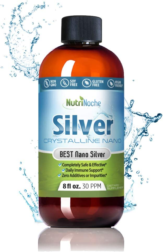 NutriNoche Colloidal Silver Mineral Liquid Supplement - Daily Immune System Support - Colloidal Nano Silver 30 PPM (8 Ounces): Health & Personal Care