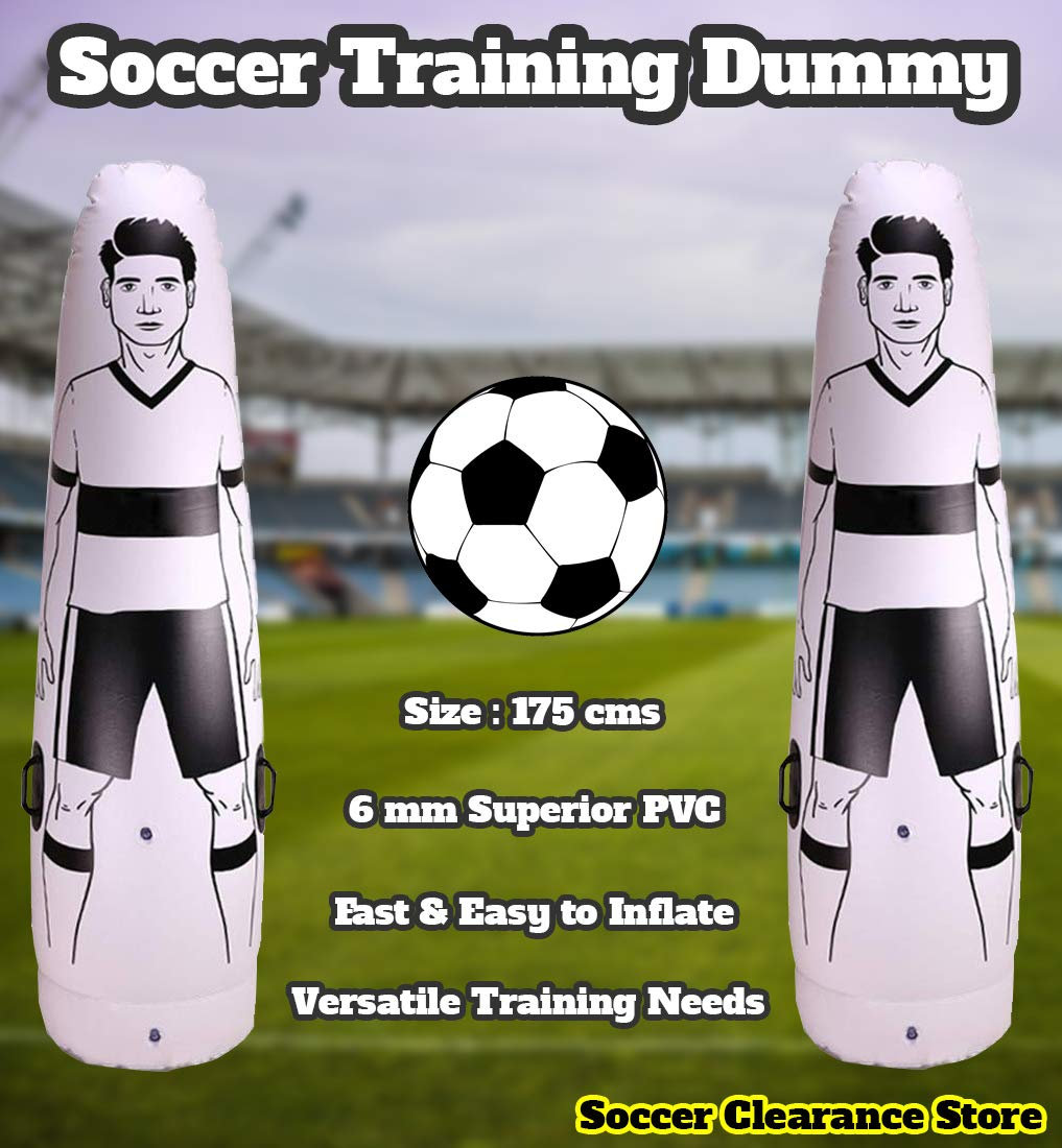 Soccer Inflatable Dummy SID | Goalkeeper Defender Training | Football Practice Tumbler Mannequin Shield | Dummies for Free Kicks, Dribbling Wall Passing Drills by Soccer Clearance Store