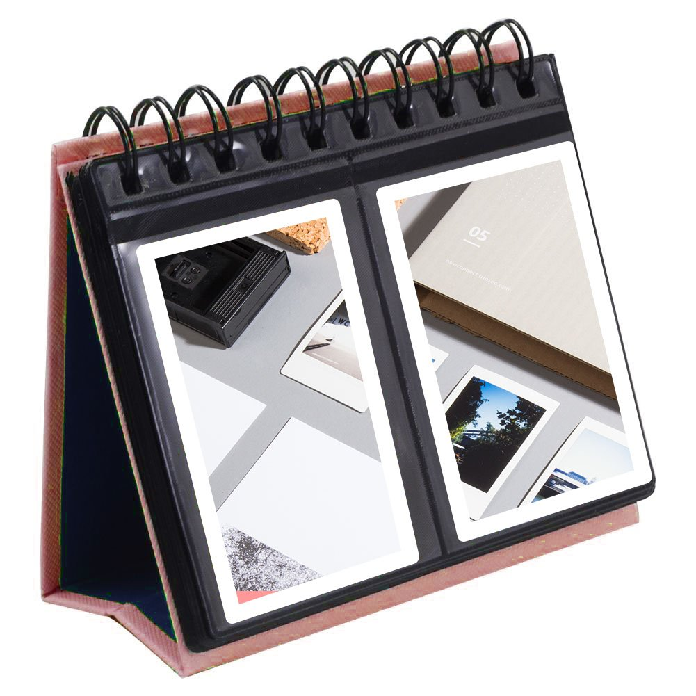Katia 3-Inch Desk Photo Album for Fujifilm Instax Mini 7s 8 8+ 9 25 26 50s 70 90 Films, Calendar Style(Brown)