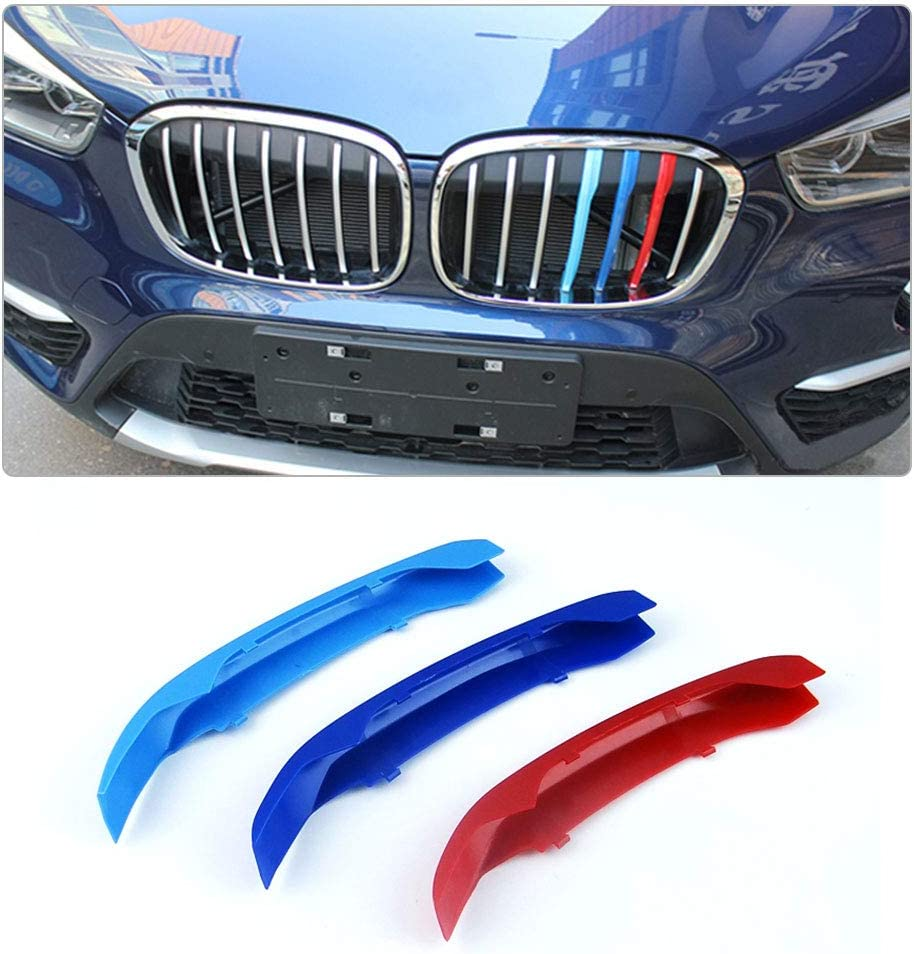 7 Grilles Longzhimei Fit for BMW X1 F48 2016-2017 M-Colored Front Grille Insert Trim Strips Grill Cover 3Pcs