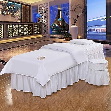 Color puro Algodón Belleza Cubierta de cama Juego de sábanas para camilla de masaje, Estilo europeo masaje mesa falda Falda de cama Colchas Salón spa champú personalizado-Blanco 185x70cm(73x28inch): Amazon.es: Hogar
