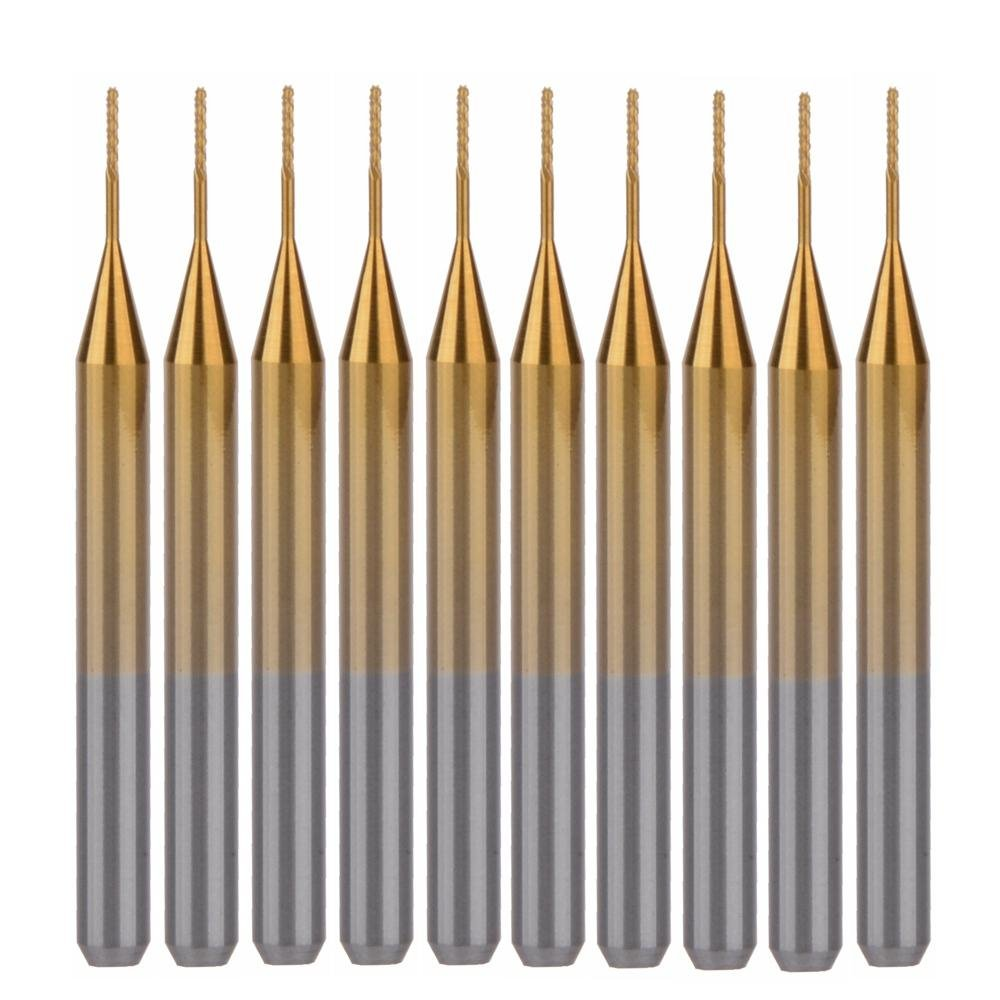 EU_HOZLY Titanium Coat Carbide 3.175mmX0.5mmX3mm End Mill Engraving Bits CNC Rotary Burrs Pack Of 10