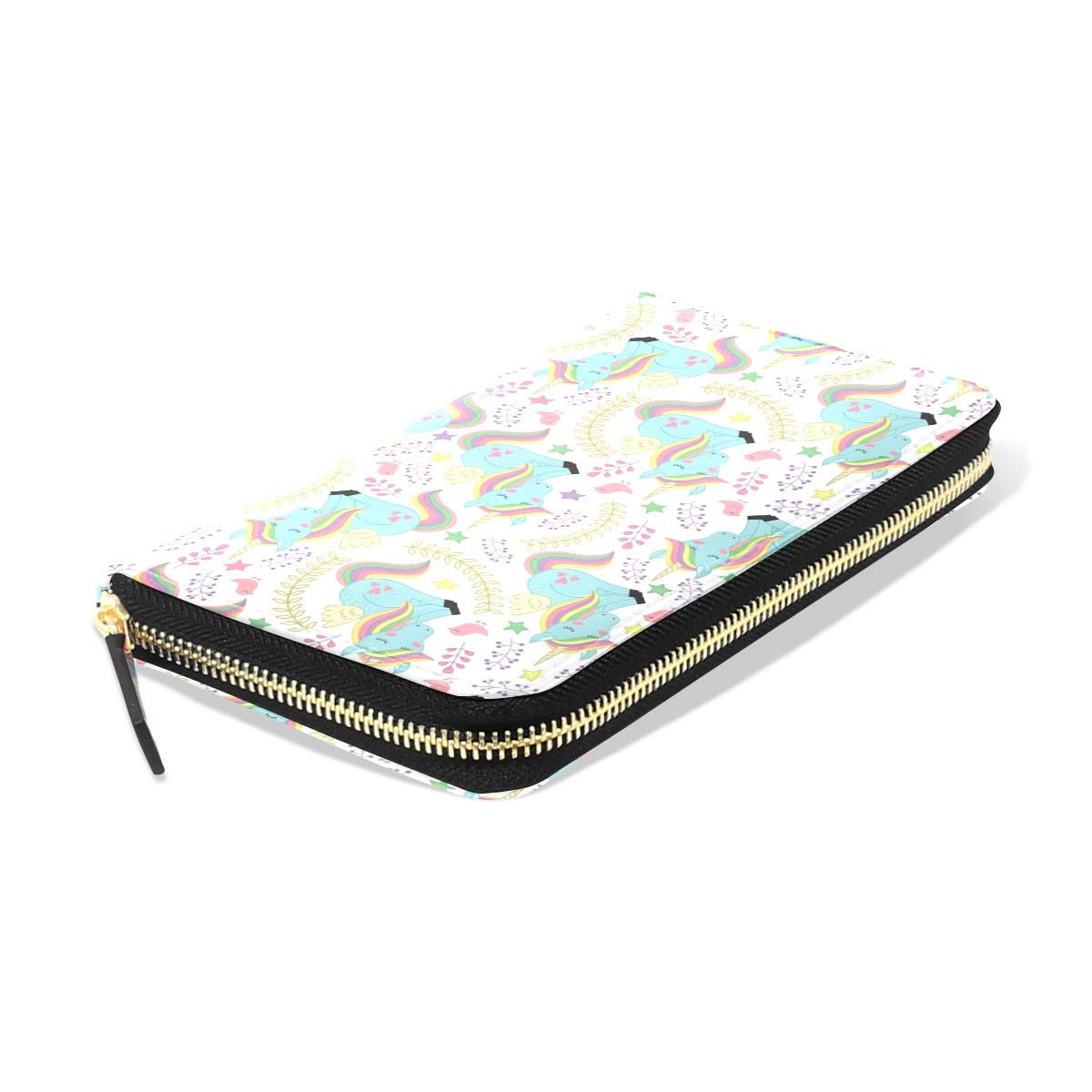 Women LeatherPattern With Unicorn And Bird VWallet Large Capacity Zipper Travel Wristlet Bags Clutch Cellphone Bag