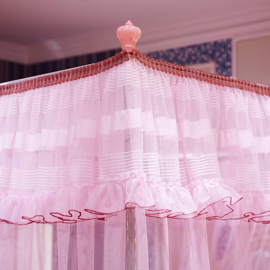Obokidly 4 Corner Bed Mosquito Netting;Thinken Encryption Anti-mite America Village Bedding Curtains for Baby Girls Kids Bedroom Dectors Drapes Canopies (Pink, King) by Obokidly (Image #5)