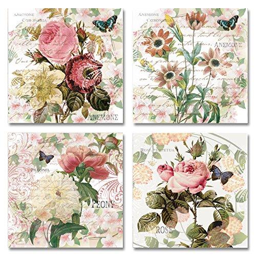 Vintage Anemones, Peonies, & Roses; Four Beautiful Floral