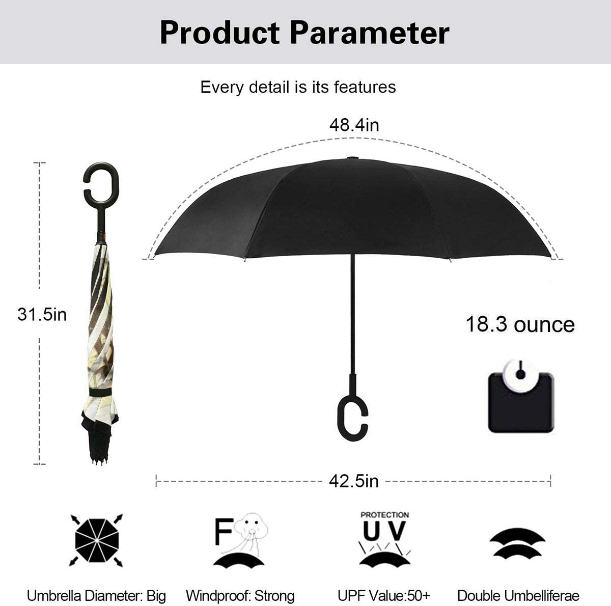 With C-Shaped Handle UV Protection Inverted Folding Umbrellas Windproof And Rainproof Double Folding Inverted Umbrella Overlord Car Reverse Umbrella