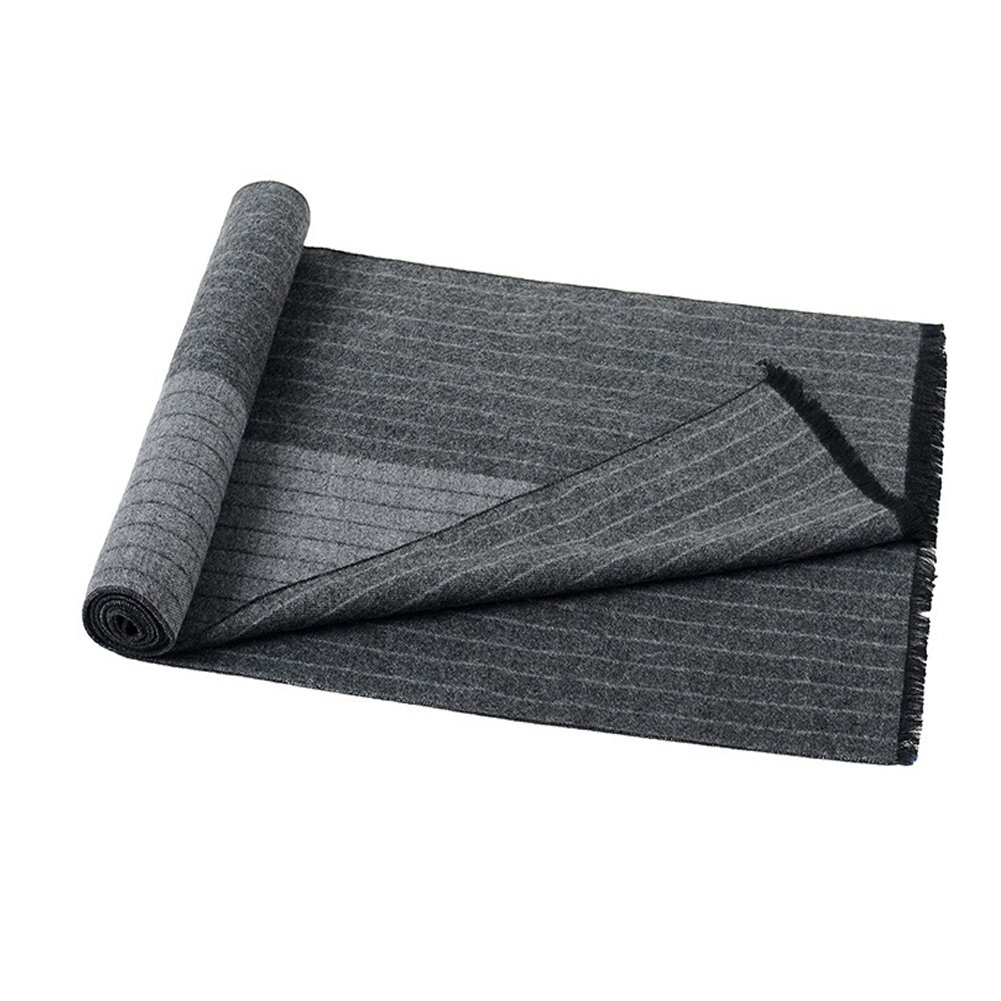Mens Classic Long Fringe Striped Scarf Fashion Gentleman Business Scarves (Grey) by HiRosy (Image #2)