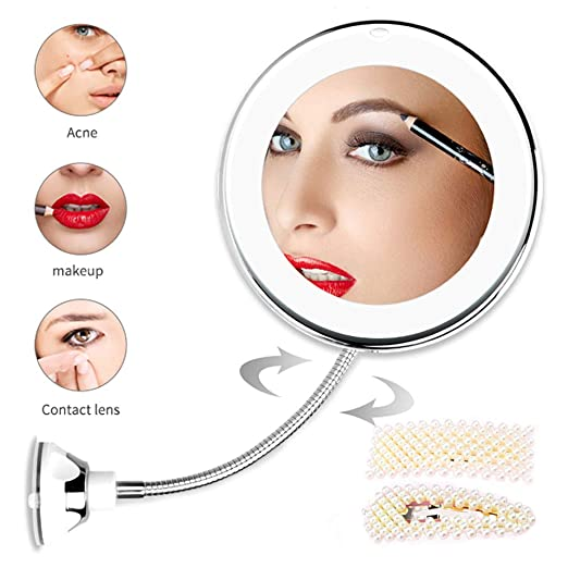 10X Magnifying Makeup Mirror with Light LED Lighted Cosmetic Mirror Vanity Mirror 360 Degree Rotation and Powerful Suction Cup Beauty Mirror for Tabletop Bathroom Traveling