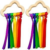 N+B 2 Stks Regenboog Houten Lint Ring Speelgoed Baby Bijtring Pasgeboren Baby Zintuiglijke Speelgoed Wolk Lint voor 6-12…