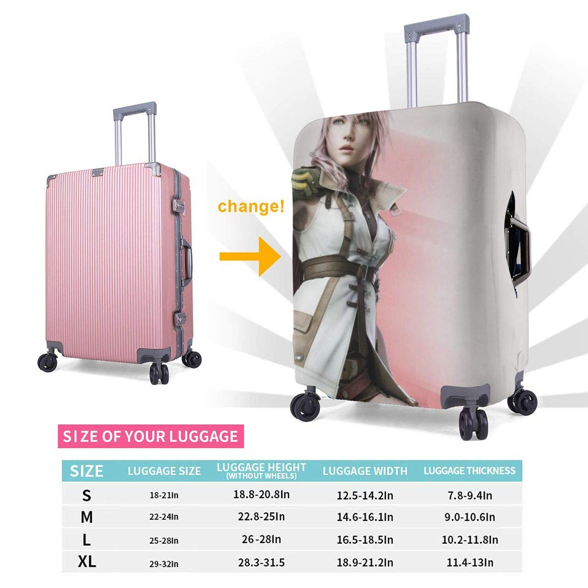 Final Fantasy XIII Suitcase Protector Travel Luggage Cover Fit