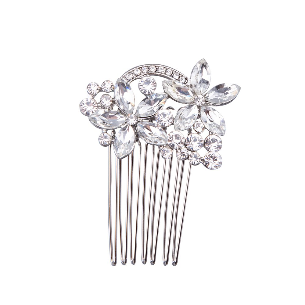 Feyarl Mini Rhinestone Hair Side Comb Wedding Flower Comb Prom Party Decorative Combs (Silver)