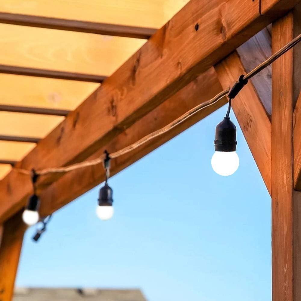 BarcelonaLed Guirnalda Tira Luz LED Exterior y Interior 10 metros IP65 Impermeable de Color Negro con 10 Casquillos Colgantes E27 y Bombillas de 1W Incluidas en Blanco Cálido para Jardín: Amazon.es: Iluminación