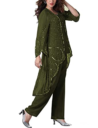 ecba0233576 Fitty Lell Women s ArmyGreen Chiffon Mother The Bride Pant Suits Plus Size  3 Pieces for Wedding