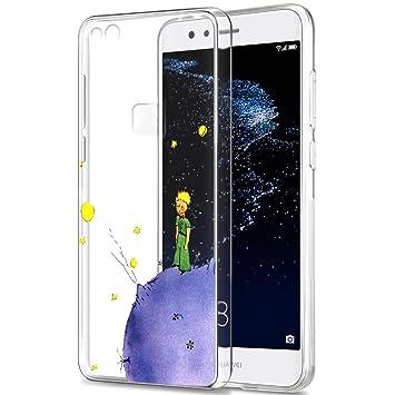 YOEDGE Funda Huawei P10 Lite Ultra Slim Cárcasa Silicona Transparente con Dibujos Animados Diseño Patrón [El Principito] Resistente Bumper Case Cover ...
