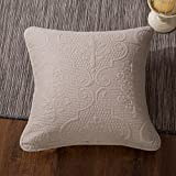 DaDa Bedding Beige Euro Sham - Sand Dollar Elegant Floral Embossed Accent - Quilted Square Pillow Cover - Neutral Tan - 26'' x 26''